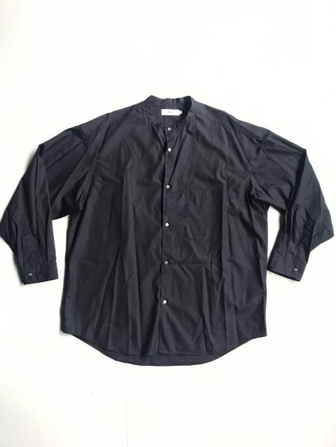 "Broad Band Collar Oversized Shirt""NAVY"""