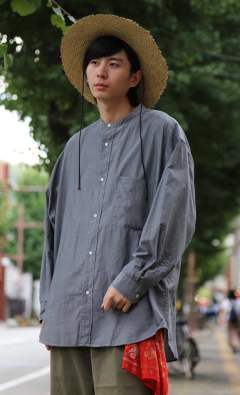 "Dungaree Band Collar Oversized Shirt""BLACK"""