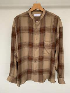 "Check Band Collar Big Sleeve Shirt""BROWN CH"""