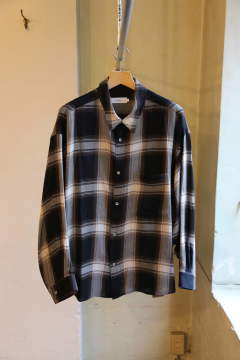 "Check Regular Collar Big Sleeve Shirt""BLACK CH"""