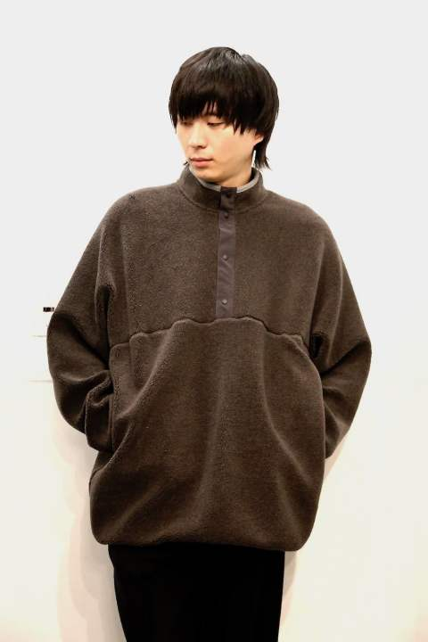 "Wool Boa Hi-Neck Pullover""GRAY"" (GU193-70043)"