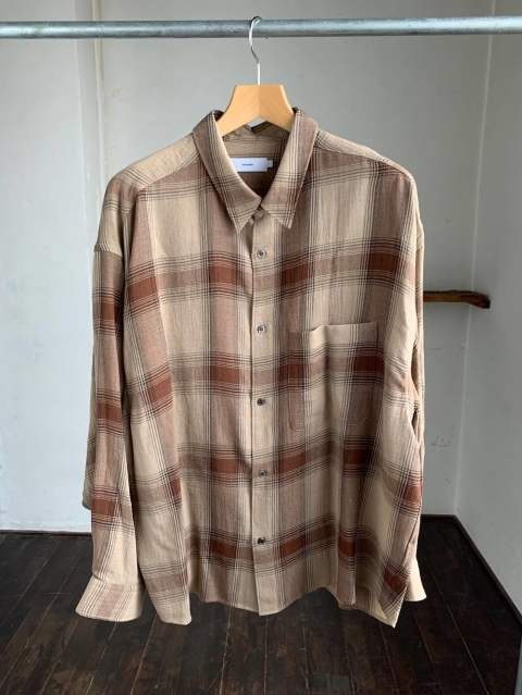 "Check Regular Collar Big Sleeve Shirt""BROWN CH"""