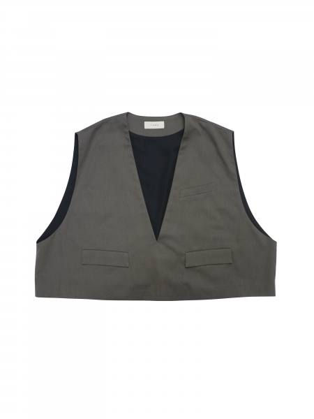 "OPEN NECK SHORT VEST (C/G)""CHORCOL GRAY""(Jie-20S-SH05)"