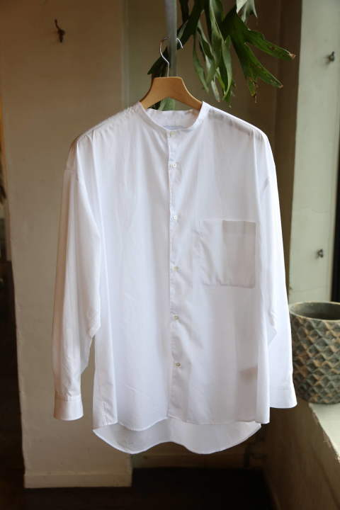 "Broad L/S Oversized Band Collar Shirt""WHITE""(GM201-50092B)再入荷!"