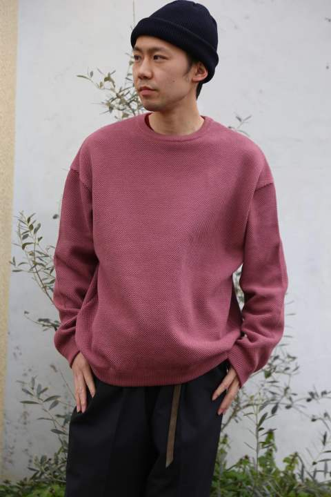 "crepuscule(クレプスキュール ) moss stich L/S sweat""PINK"" Style.2019.2.13."