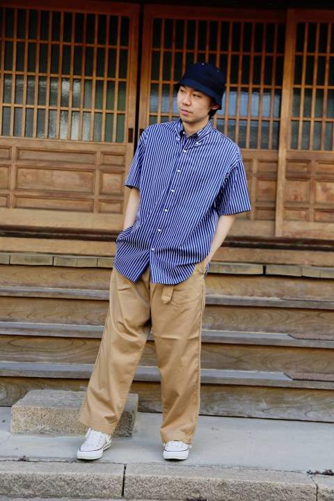 "Graphpaper(グラフペーパー)THOMAS MASON S/S B.D Box Shirt""NAVY ST""&Chino Belted Pants  Style.2019.4.21."