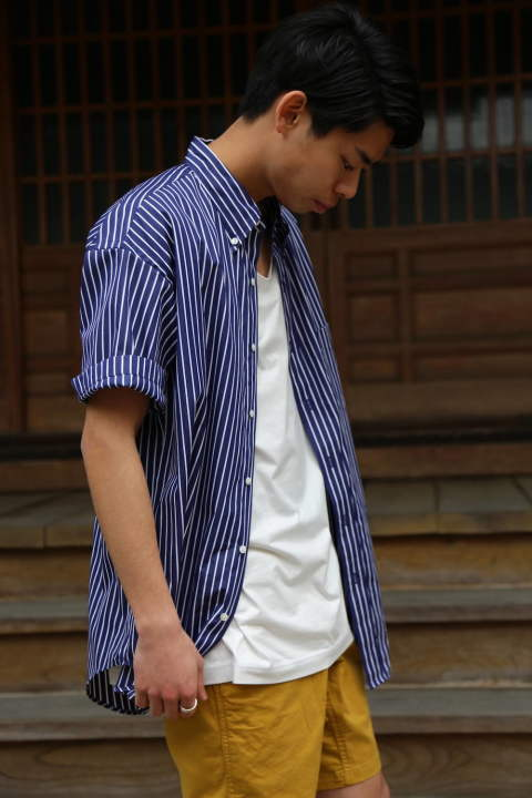 "Graphpaper THOMAS MASON S/S B.D Box Shirt""NAVY ST""スタイル.2019.5.02."
