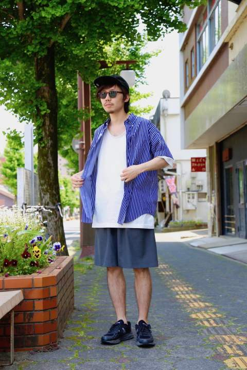 "Graphpaper(グラフペーパー)THOMAS MASON S/S B.D Box Shirt""NAVY"" Style.2019.5.13."