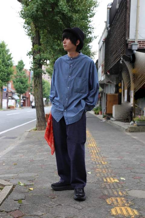 "Graphpaper Dungaree Band Collar Oversized Shirt""INDIGO""Style.2019.8.19."