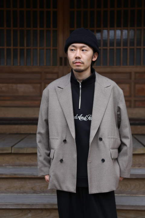 "YOKE(ヨーク)LOOSE DOUBLE-BREASTED JAKCET""BEIGE PLAID""Style.2019.11.27."