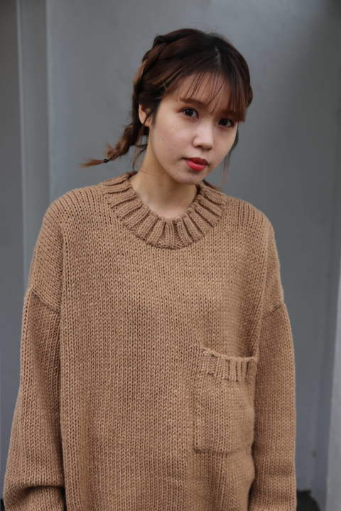 "WELLDER  Solid Color Low Gauge Hand Machine Knit""CAMEL""style.2019.11.19"