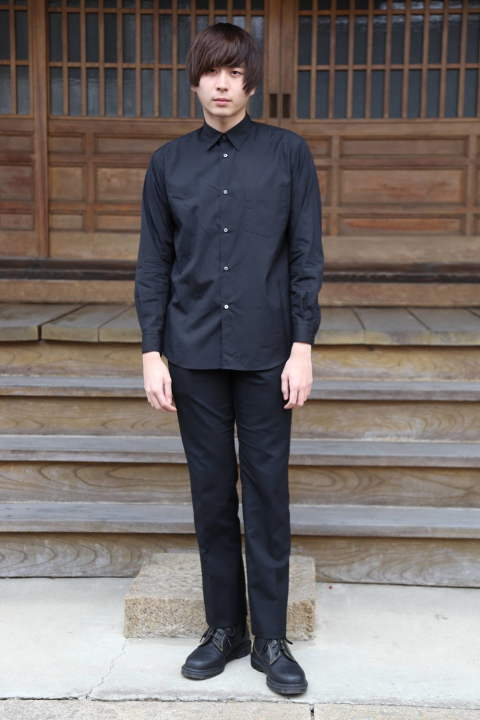 "Graphpaper Broad Regular-Collar Shirts""BLACK""style.2020.1.19."