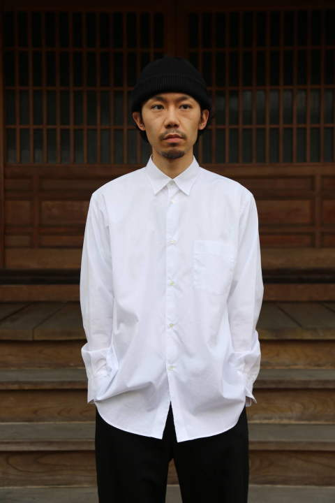"Graphpaper Broad Regular-Collar Shirts""WHITE""Style.2020.1.28."