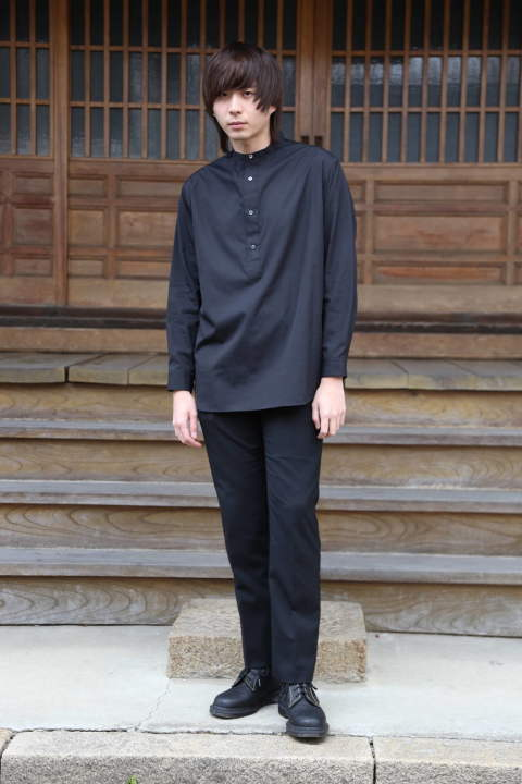 "Graphpaper  Broad Band Collar Shirt""BLACK""style.2020.1.19."