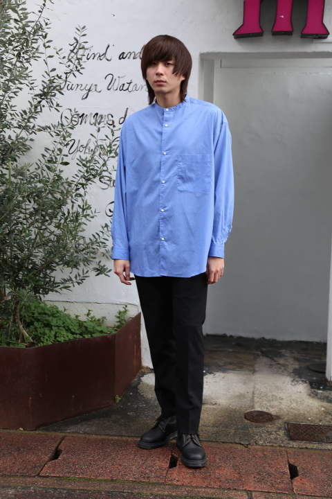 "Graphpaper Broad L/S Oversized Band Collar Shirt""BLUE""style.2020.1.19."