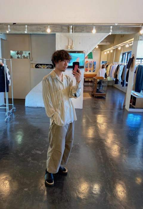 "YOKE  OVERSIZED STRIPE SHIRTS""BEIGE""Style.2020.3.29."