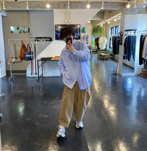 "Graphpaper Thomas Mason Oversized B.D Shirt""BLUE CH""Style.2020.3.30."