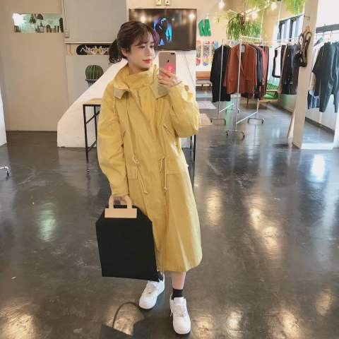 "YOKE 2020ss STAND COLLAR OVER COAT""YELLOW""style.2020.3.31"