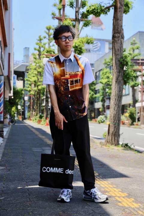 COMME des GARCONS HOMME 綿ブロード製品プリントシャツStyle.2020.6.8.