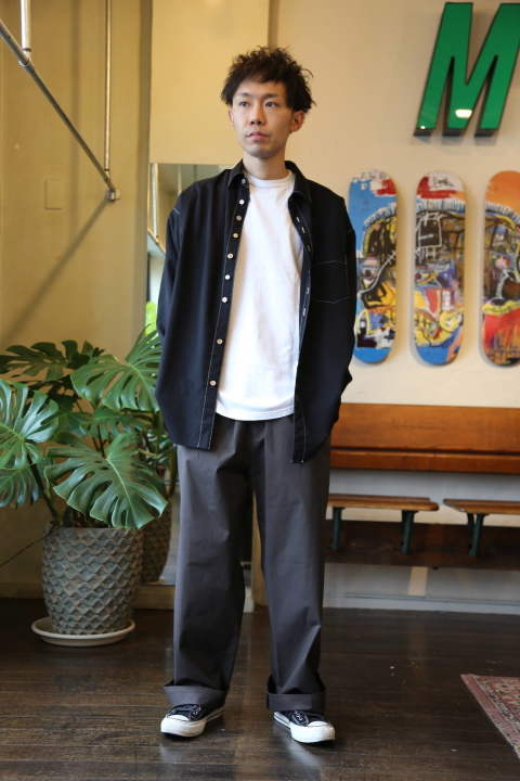 "Graphpaper Stretch Typewriter Wide Cook Pants""GRAY"" Style.2020.6.1."